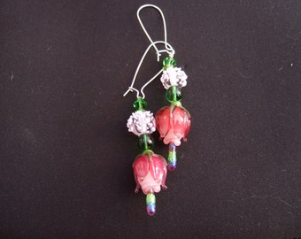 Pink floral glass earrings