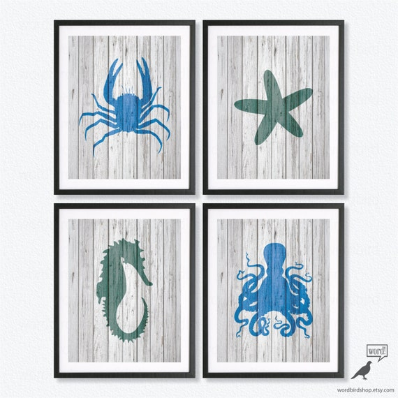 Navy Bathroom Wall Decor : Items similar to navy blue wall decor print set octopus