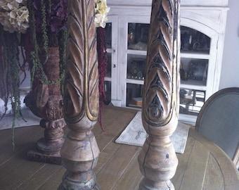 Vintage Hand Carved Candleholders