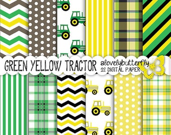 Traktor digital paper, Green yellow Digital Paper Pack, farm, chevron, Scrapbooking boy Style, small comercial use, INSTANT DOWNLOAD