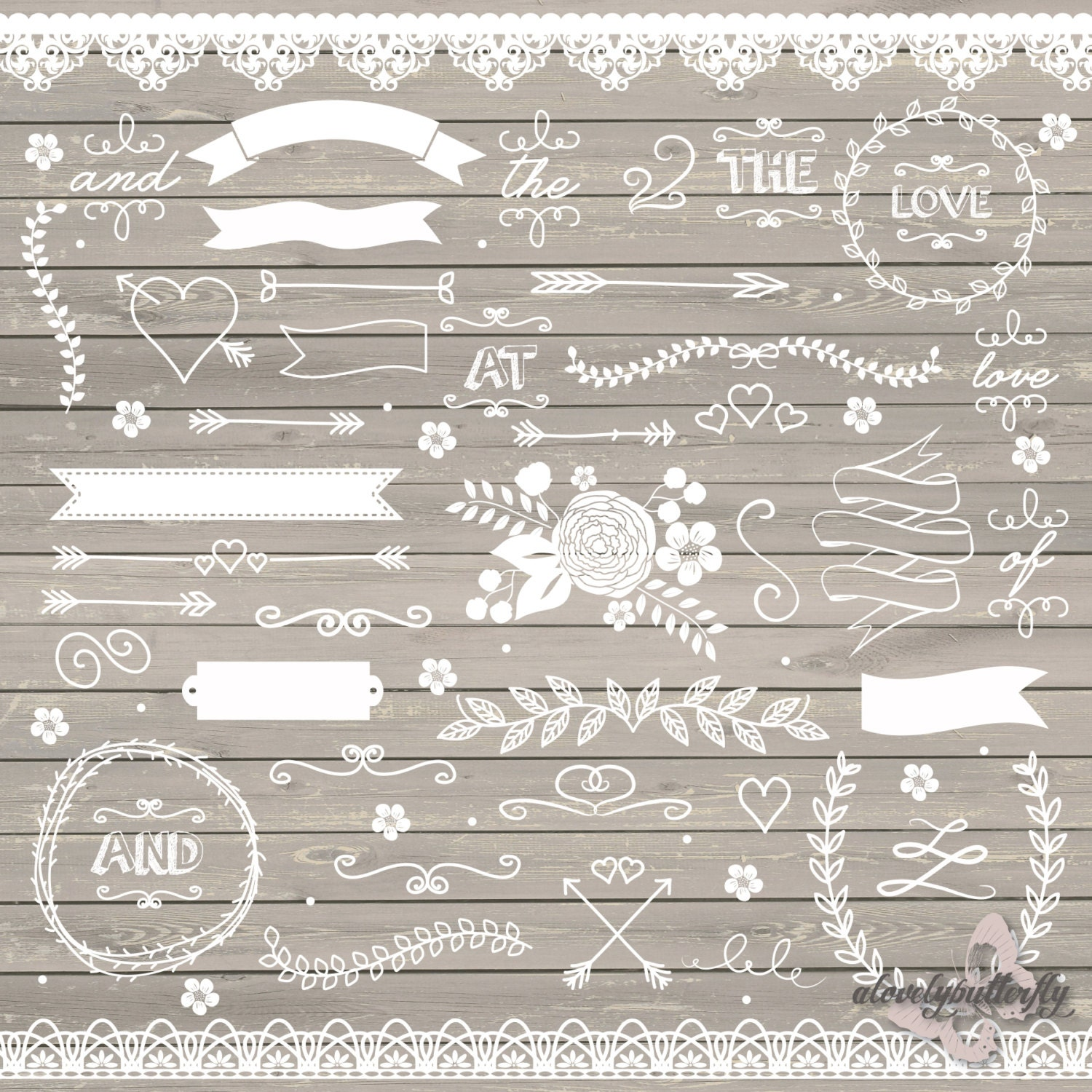 Wedding clipart rustic clipart shabby chic wedding lace