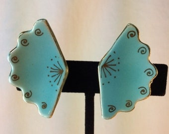 Vintage Turquoise Ceramic Clip Earrings