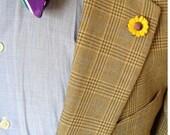 Sunflower Lapel Pin / Sunflower Boutonniere