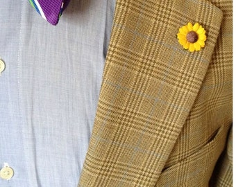 Paper Yellow Sunflower Lapel Pin - Everyday / Weddings / Proms