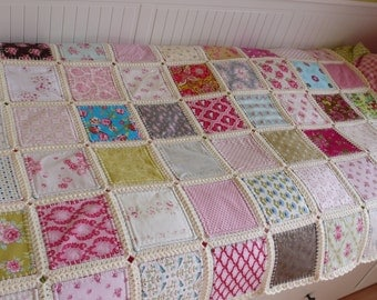 Fusion quilt, Patchwork with crochet border, Ready to ship, Free shipping