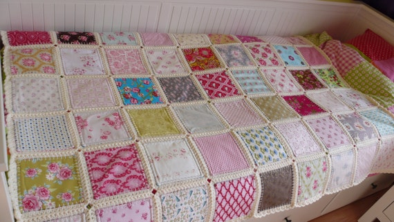 Crocheting Into Fabric : Fusion quilt patchwork with crochet border Ready by FlowergirlMila