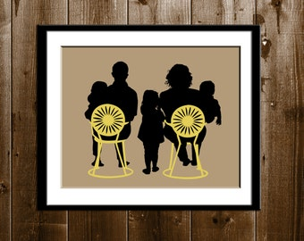 Custom Family of 5 Silhouette Portrait with Props, Grandparents Day Gift, Silhouette Art Print, Children Silhouette Portrait from your Photo