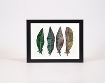 Watercolor Feather Print | Aztec Feather Print | Rainbow Watercolor Print | Bird Feather Art | Mandala Feather Art