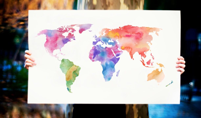 Watercolor World Map Art Print Magenta Pink  Purple Painting