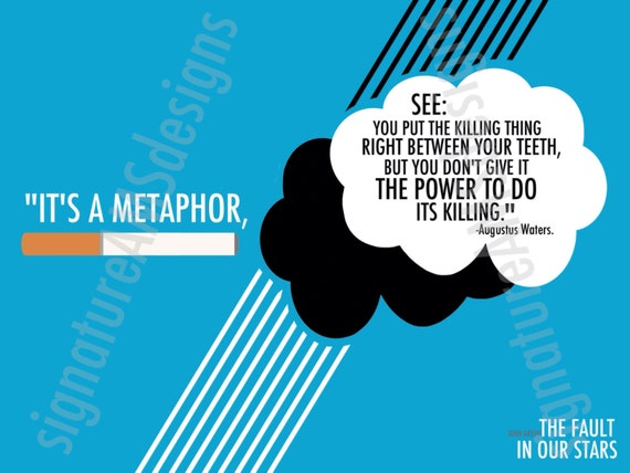 Minimalist Digital Artwork of International Bestselling Novel - The Fault in Our Stars Quote, Augustus Waters. ( 11.7x16.5 inches / A3 )