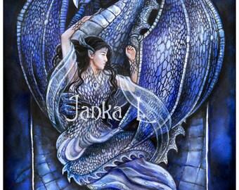 Original painting - Dragon's Bride - blue