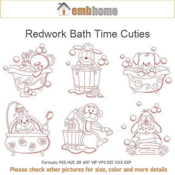 Items similar to redwork bath time cuties animal machine for Bathroom embroidery designs