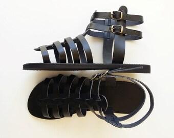 Black Leather Gladiator Sandals - Women Leather Gladiator Sandals