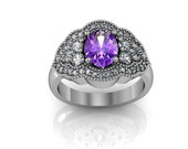 Art Deco Amethyst Ring -  Antique Style Sterling Silver Amethyst Engagement and Anniversary Ring Set
