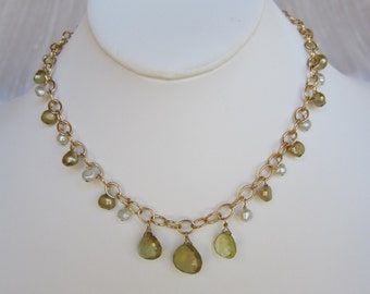 Whiskey Quartz Pendants, Pearl Handmade Necklace with 14K Gold Filled Chain