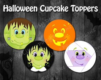 Halloween Cupcake Toppers- Instant Download