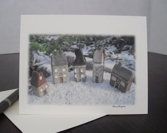 Map of vows without Word to the village. In Town Blank Greeting Card.