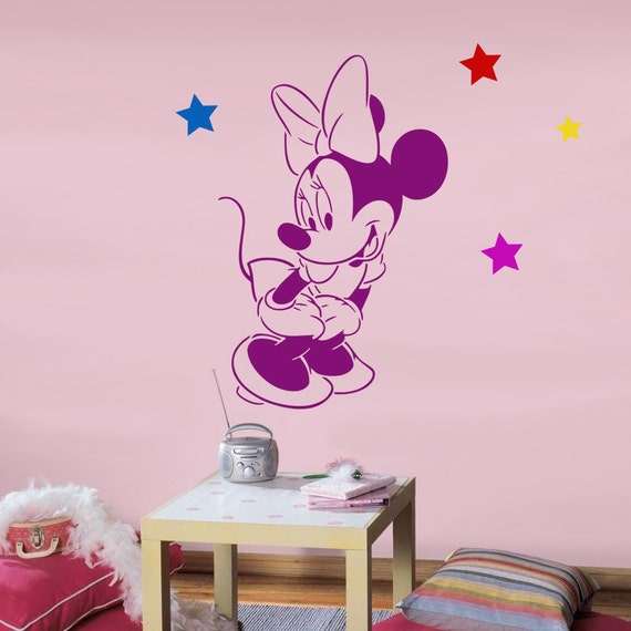 Disney minnie mouse reusable stencil for kids room wall for Disney wall stencils for painting kids rooms