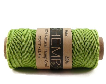 Green Hemp Cord 20 lb 205 ft