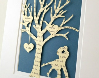 Personalized Anniversary Gift Tree - 3D Paper Art