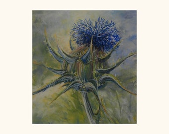 Original pastel painting on sanded paper. Thistle painting.Flower painting. nature painting. Fine art. Still life painting.