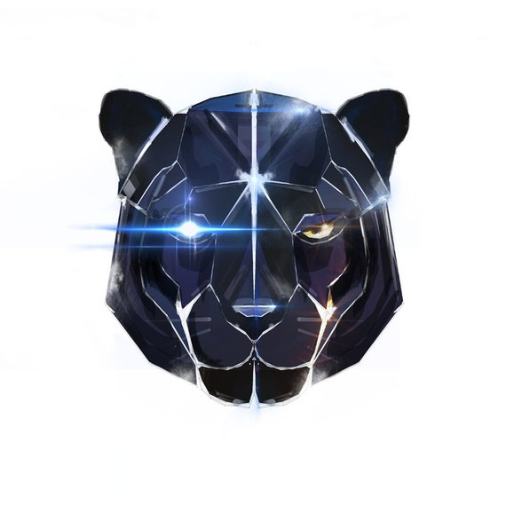 Geometric Cat Head Geometric Black Panther Head