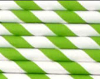 25 Lime Green Stripe Paper Straws | Green Paper Straws | Green Party Straws | Green Stripe Paper Straw | Lime Green Straws