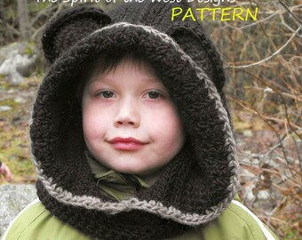 Crochet Bear Hood Pattern Snood for toddler child teen bulky wool neckwarmer cowl hat ears hooded scoodie hoodie hoody PDF Instant Download