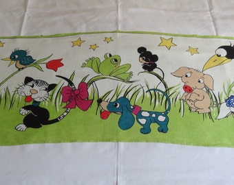 Vintage Swiss Kreier Long Linen Children Wall Hanging with Animal Theme I