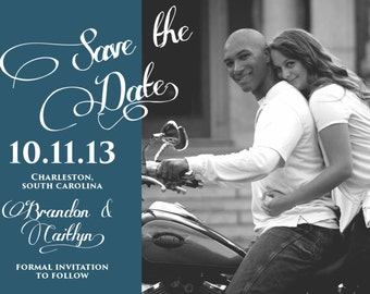Black and White Save the Date with Banner | Digital File |