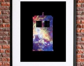 Doctor Who Poster Art, Tardis Poster | Instant Download Printable Art, Space, The Doctor Who Print, David Tennant, Matt Smith | Tardis Art