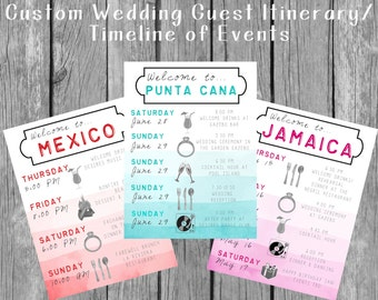Destination Wedding Welcome Bag Guest Itinerary / Timeline of Events!