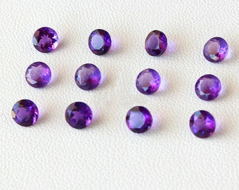 Natural amethyst loose stone round faceted purple amethyst crystal quartz loose gemstone wholesale VVS healing crystal