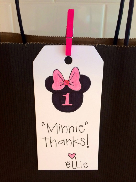 Items Similar To Minnie Mouse Birthday Gift Tag Thank