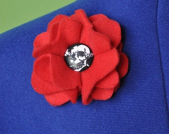Red Fleece with Skull Barrette