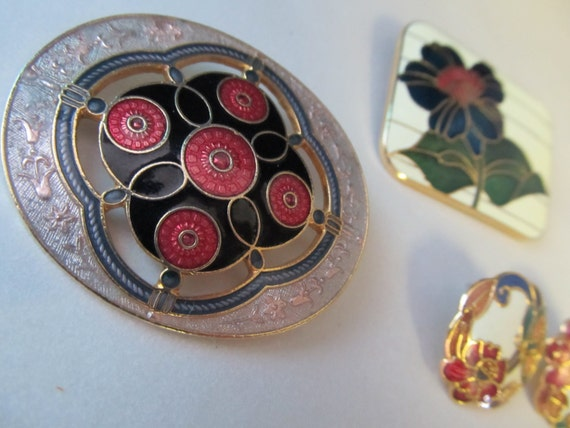 Cloissonne Brooch and Earring Set on Etsy