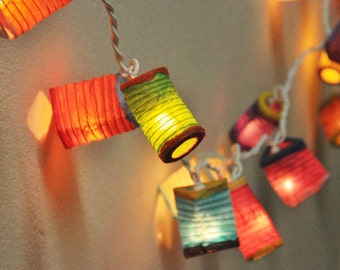 35 Bulbs Paper Lantern String Lights Mixed Colour for Party Wedding and Decorations