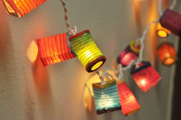 Paper Lantern String Lights Nz : 35 Bulbs Paper Lantern String Lights Mixed Colour by smilecotton