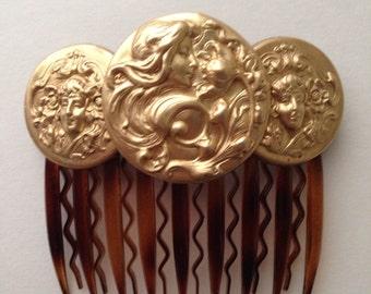 BIANCA: Coin/Medallion  Hair Comb