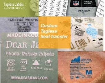 250 Tagless Heat transfers labels, heat transfer vinyl design- Iron on labels-TAGLESS Transfer Labels 1 color