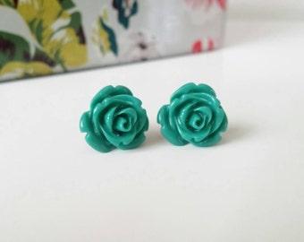 Teal earrings, dark teal earrings, teal stud earrings, teal studs, teal earrings with gold posts, teal green rose, teal jewelry