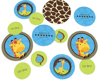 Blue Boy Giraffe Confetti Kit - Extra Large Party Circles for a Baby Shower or Birthday Party