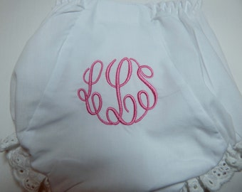 BABY BLOOMERS or Diaper Cover; Bloomers for TODDLER Girl, Monogrammed; bloomers in Pink