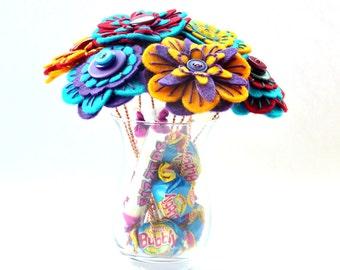 Birthday Bouquet / Floral Gift / Surprise Present / Get Well soon Bouquet / Anniversary / Floral Gift / Felt Button Bouquet / Sweet Bouquet