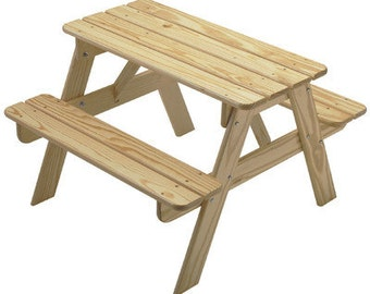 Kid's Picnic Table, Kid's Table, Unfinished Outdoor Furniture Kit