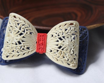 Art Deco Celluloid Red, White and Blue Bow Pin