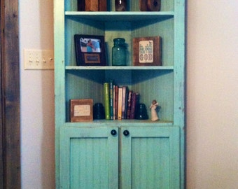 Custom corner cabinet. Overlay doors. NO SHIPPING! Pick up or local delivery only; see policies.