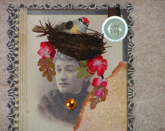 Wonderful Anytime Card Handmade from a Vintage Cabinet Card with Beautiful Lady Sporting a Birdsnest in her Hair