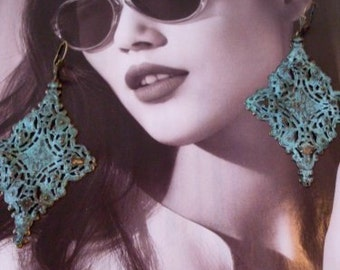 Couture Verdigris  Earrings  MMJewelryCollection  We Ship Internationally