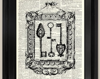 "Keys - Ornate Vintage keys art print. Upcycled vintage book page art print.  Print on book page.  Fits 8""x10"" frame."